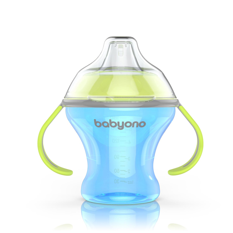 1456 BabyOno bočica Natural Nursing koja se ne prolijeva s mekom dudom 180 ml plava A