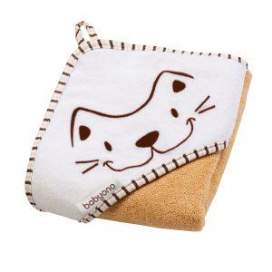 112-01 babyOno ručnik s kapuljačom 76x76 bijelo narančasti mačka