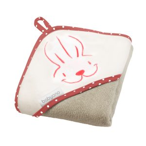 113-02 BabyOno ručnik s kapuljačom 100x100 crveno bež zeko