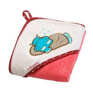 214-02 BabyOno ručnik s kapuljačom 100x100 crveni hipo